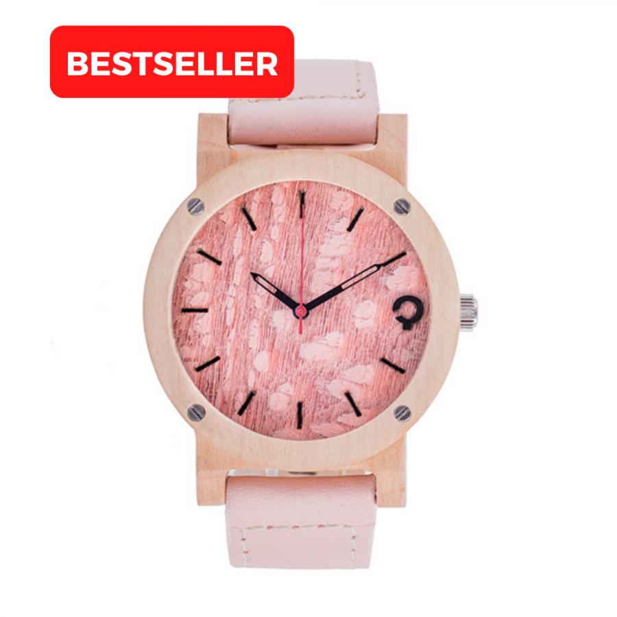 drewniany zegarek flake rose klon, polski zegarek