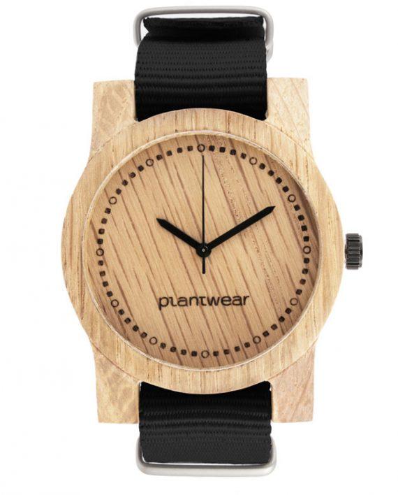 Drewniany-zegarek-basic-pasek-czarny_front
