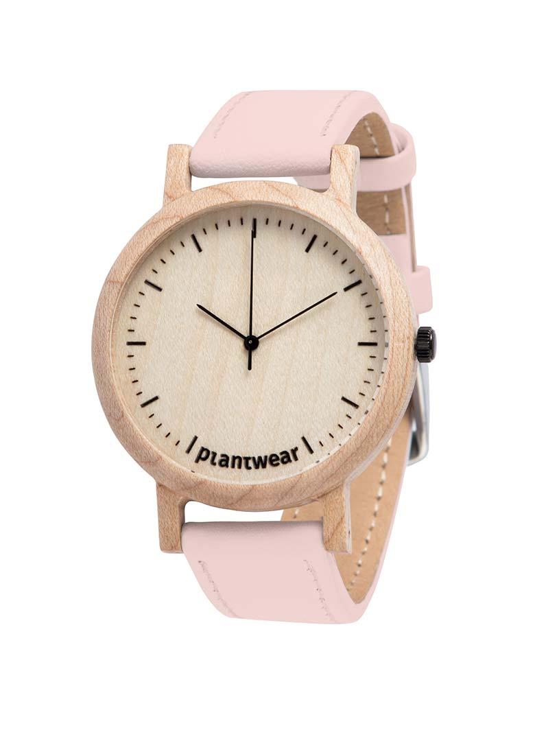 Drewniany zegarek lark slim gold pink