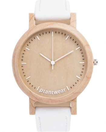 drewniany zegarek Lark slim white