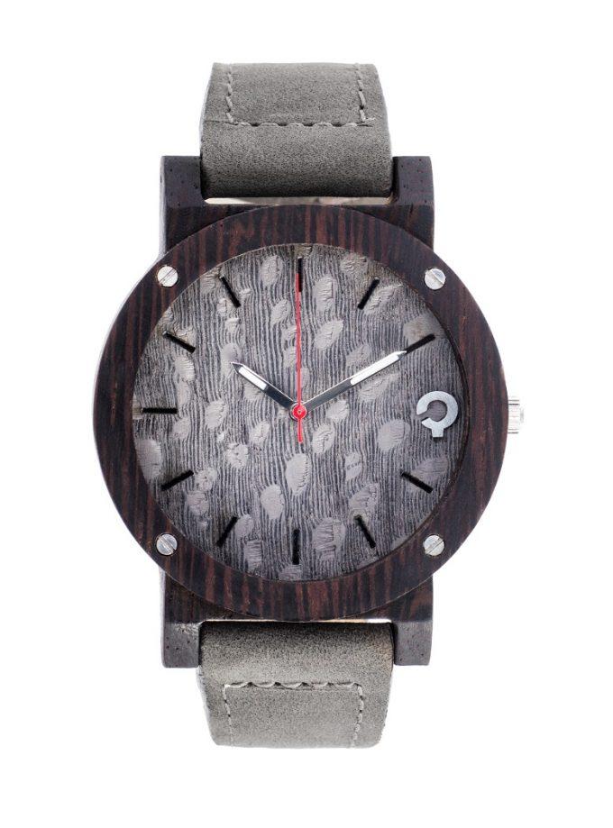 drewniany zegarek flake gray heban