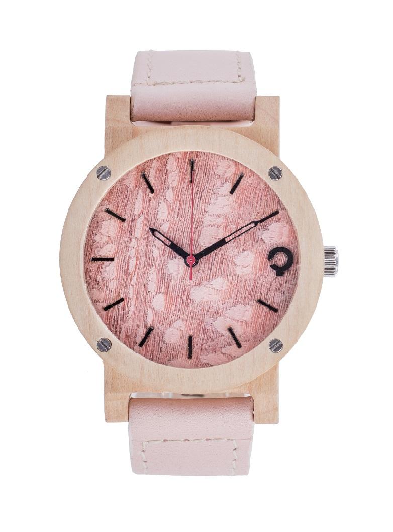 drewniany zegarek flake rose