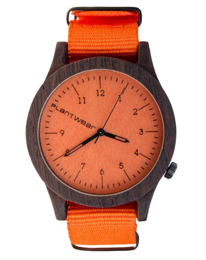 drewniany zegarek Orange Edition Heban