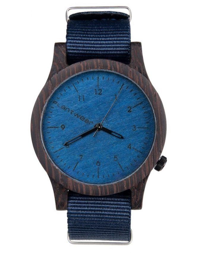 drewniany zegarek Heritage Blue Edition Heban