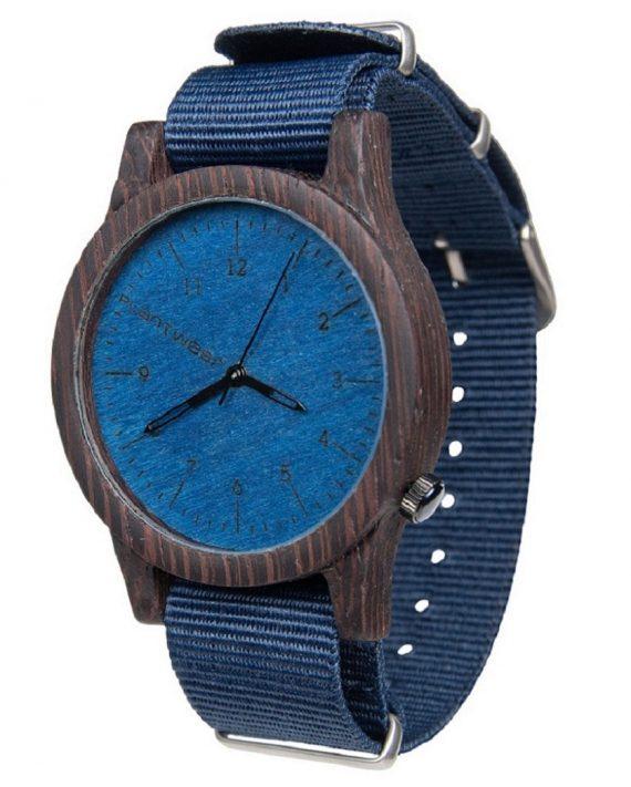 Drewniany zegarek Heritage Series – Blue edition – Ebony 2