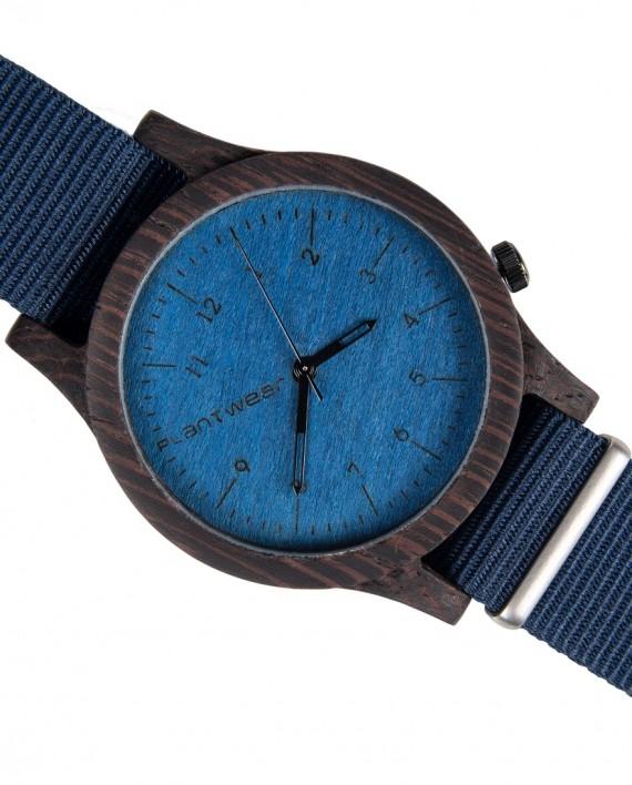Drewniany zegarek Heritage Series – Blue edition – Ebony 3
