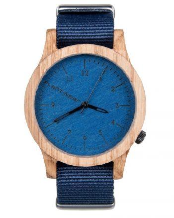 drewniany zegarek Heritage Blue Edition Dąb