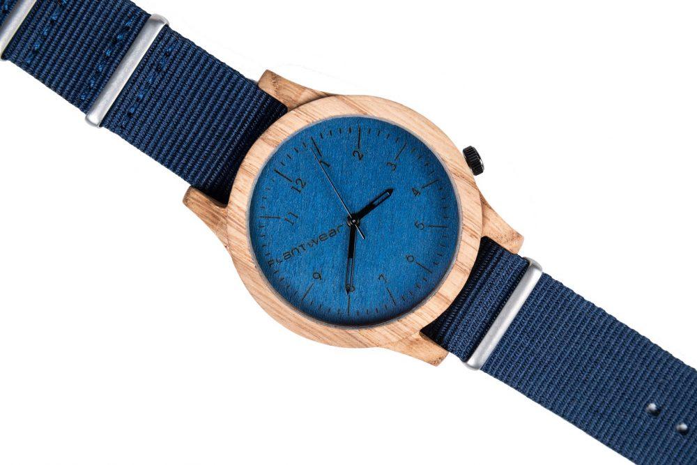 Drewniany zegarek Heritage Series – Blue edition – Oak 3