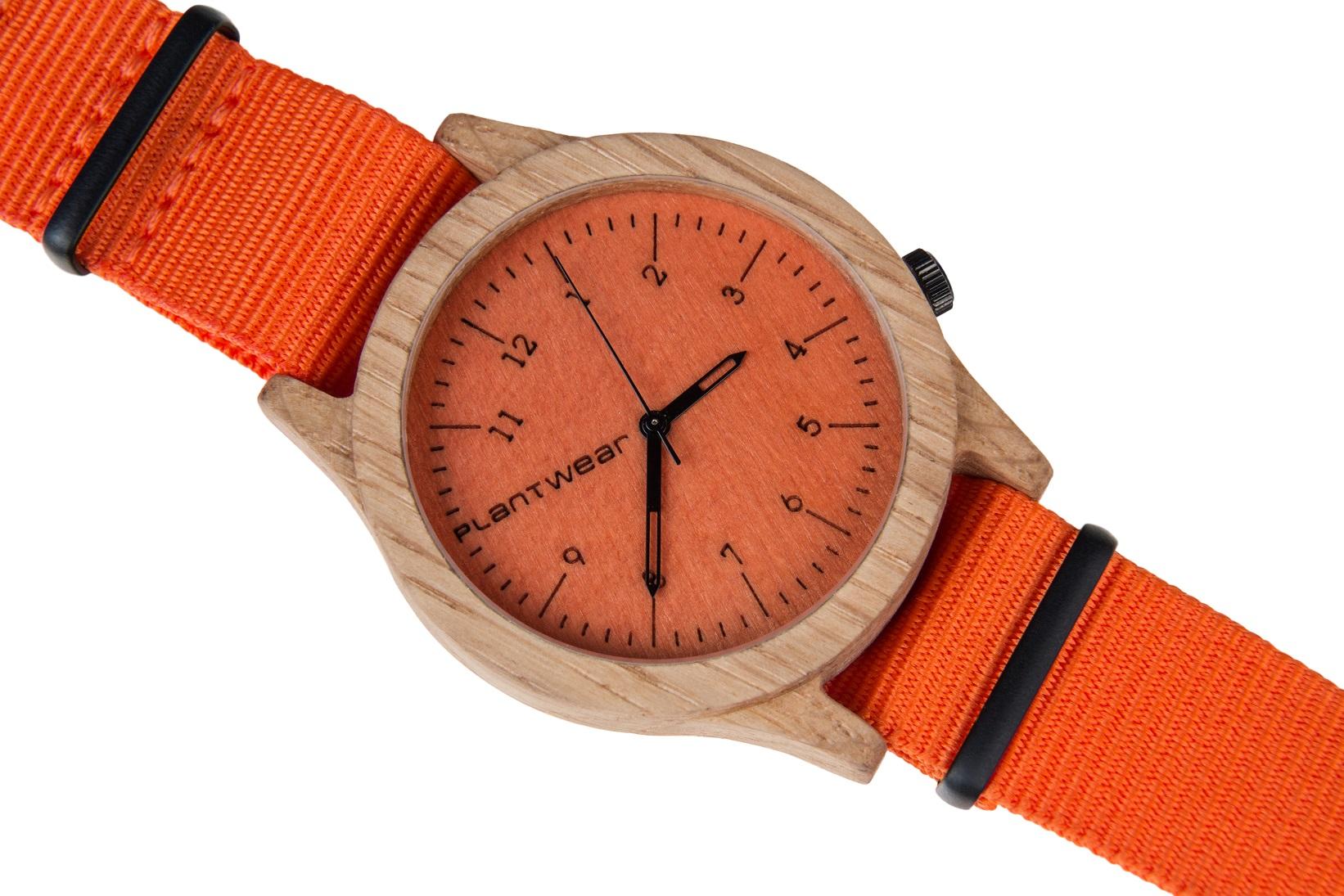 Drewniany zegarek Heritage Series – Orange edition – Oak 3