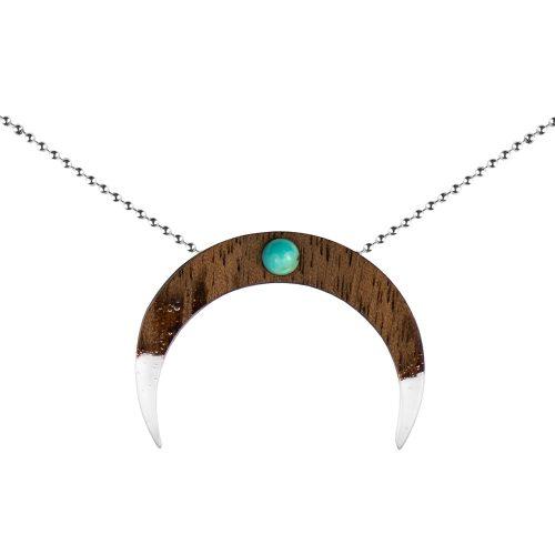 Drewniane naszyjniki Plantwear, drewniany naszyjnik półksiężyc, drewniana biżuteria