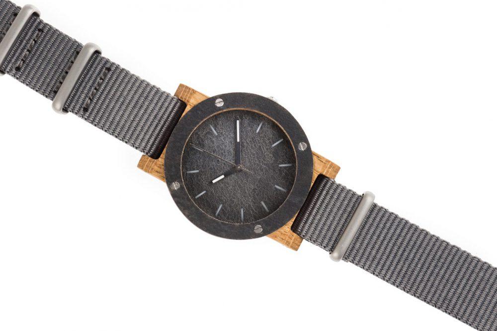 Drewniany zegarek MINI Raw Double Oak 3