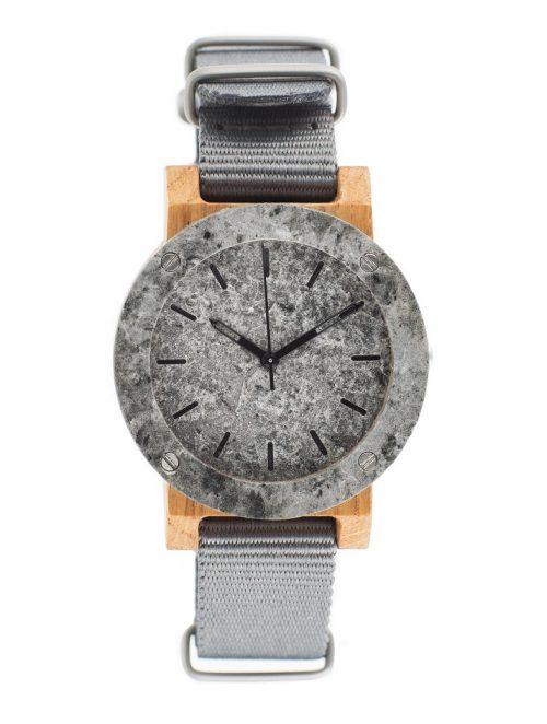 drewniany zegarek Raw Double Silver MINI Dąb
