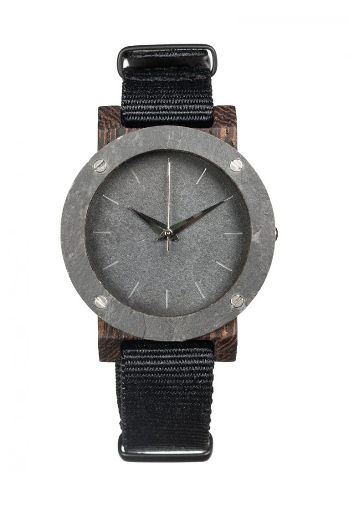 drewniany zegarek Raw Double Stone MINI Heban