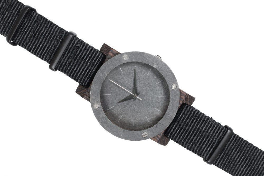 Drewniany zegarek Mini Raw Double Stone Ebony 3