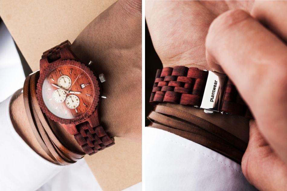 zegarek z drewnianą bransoletą