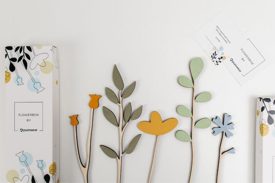 drewniane kwiaty