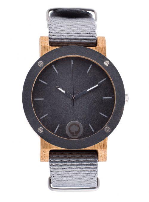drewniany zegarek Raw Double Stone Dąb