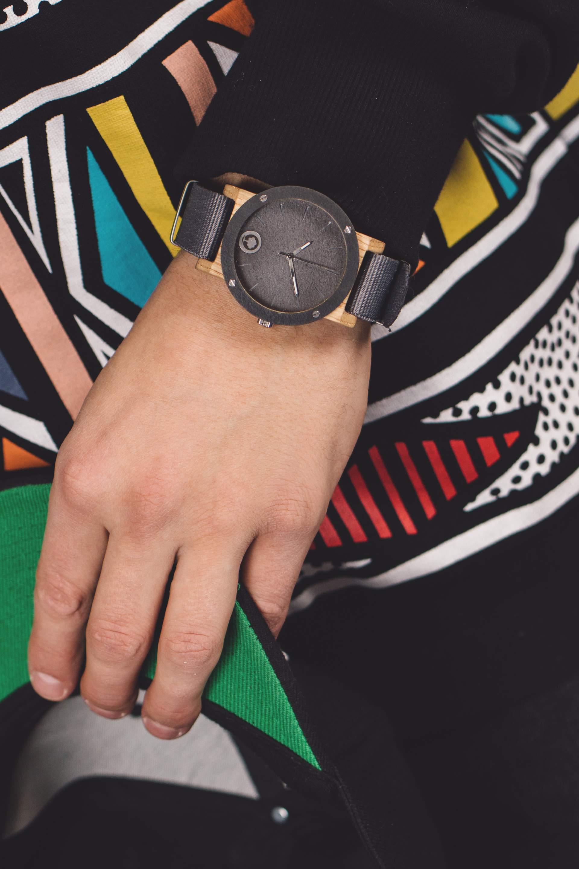 Drewniany zegarek Raw Series - Double Stone - Oak