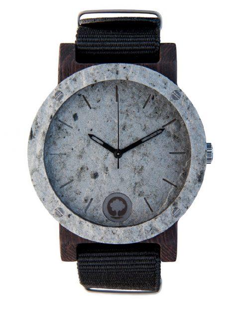 drewniany zegarek Raw Double Silver Heban