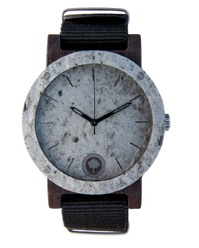 drewniany zegarek Raw Double Silver Heban, polski zegarek