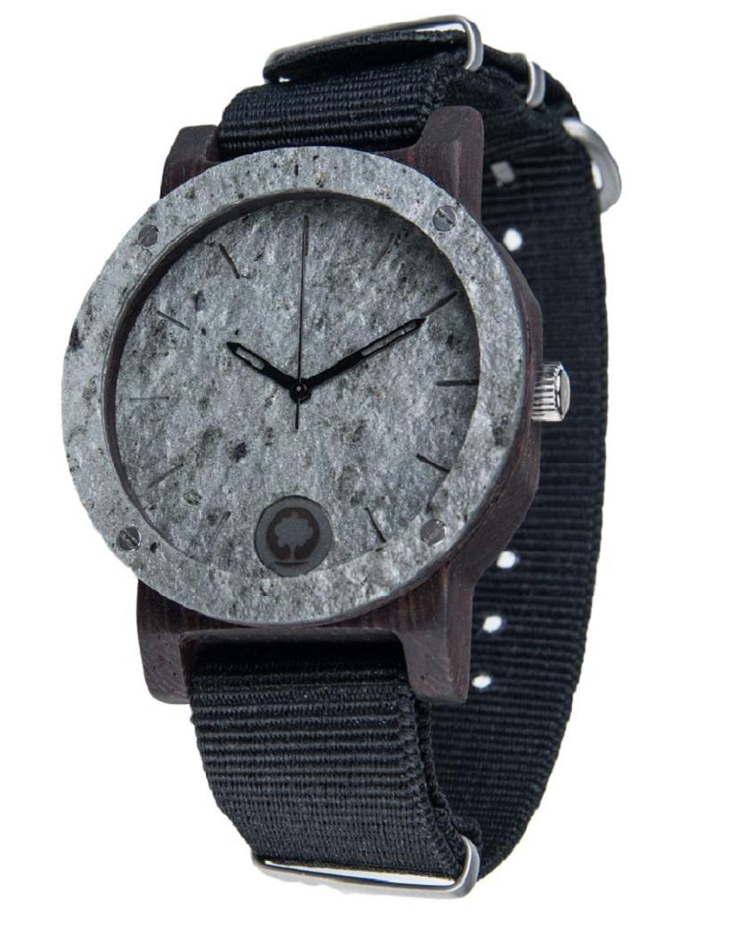 Drewniany zegarek Raw Series – Double Stone Silver – Ebony 2