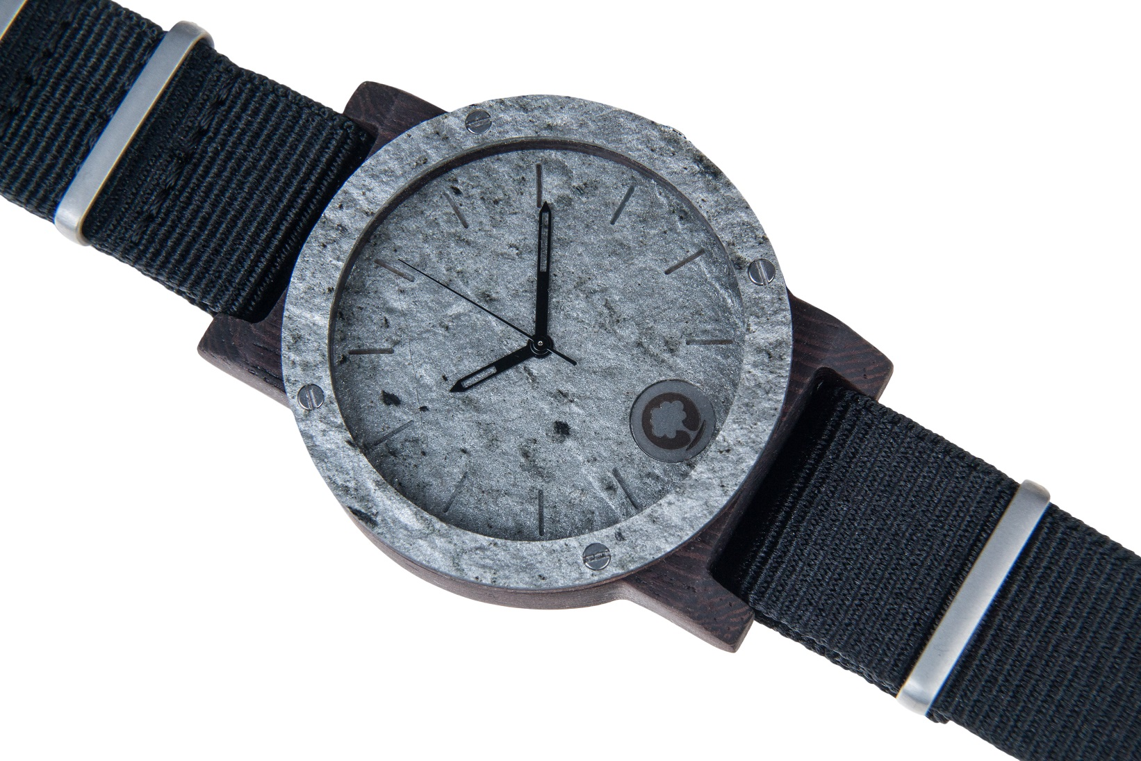 Drewniany zegarek Raw Series – Double Stone Silver – Ebony 3