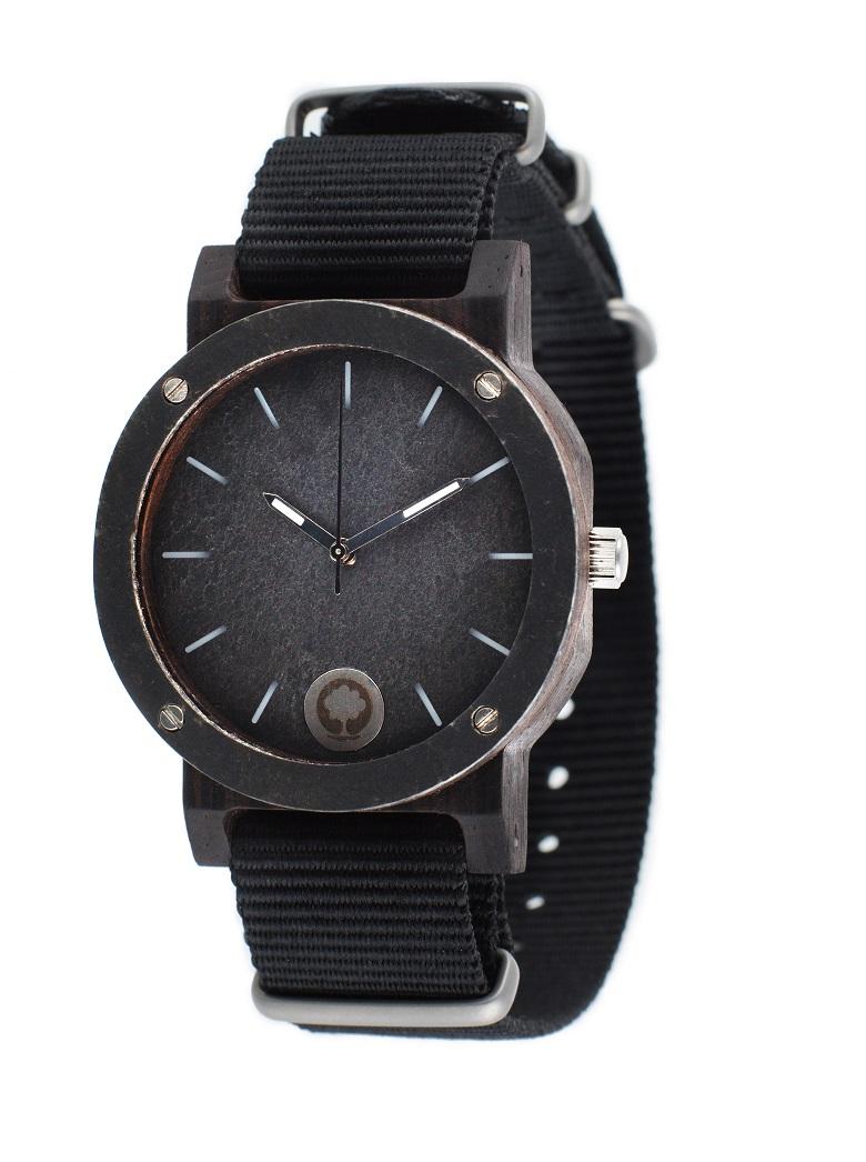 Drewniany zegarek Raw Silver Ebony 2