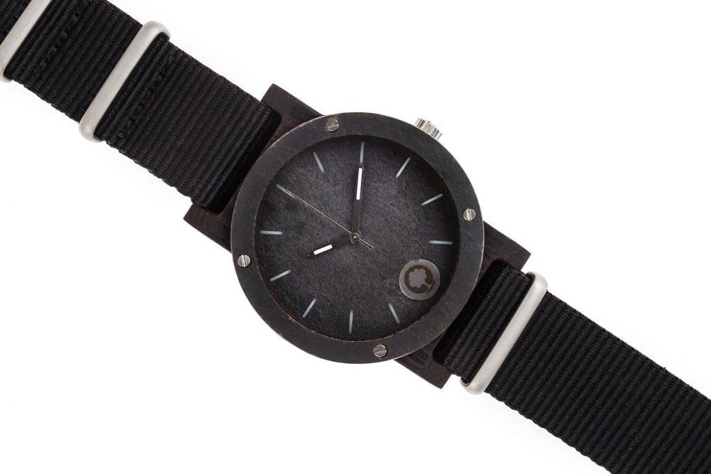 Drewniany zegarek Raw Silver Ebony 3