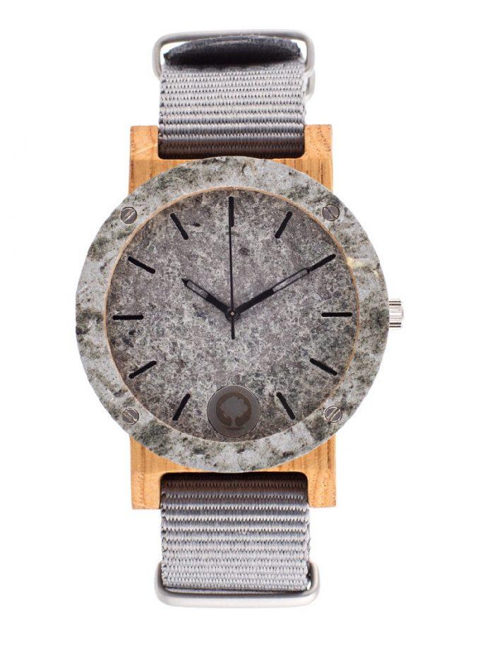 drewniany zegarek Raw Double Silver Dąb, polski zegarek