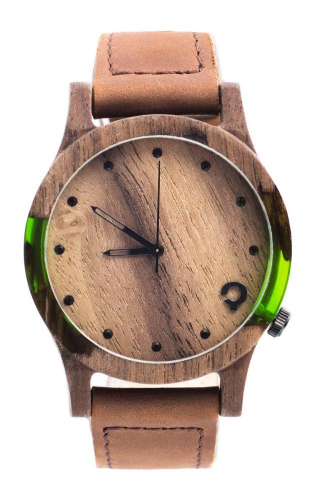 Drewniany zegarek Slick Series – Green 1