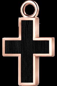 Krzyżyk różowe złoto czarny klon