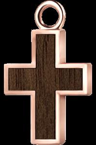 Krzyżyk różowe złoto orzech