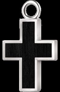 Krzyżyk srebro czarny klon