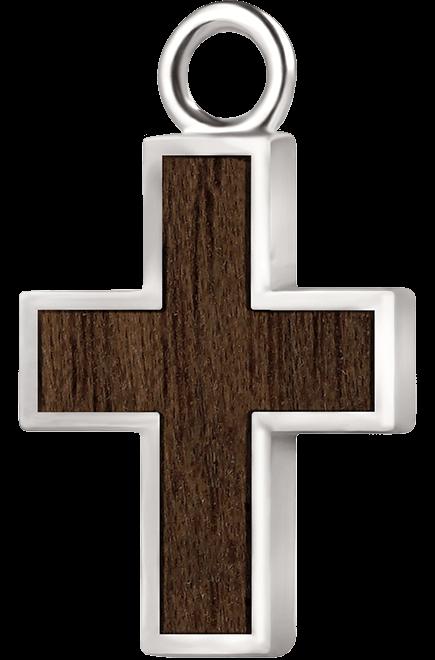Krzyżyk srebro orzech