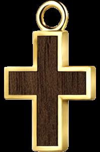 Krzyżyk złoto orzech