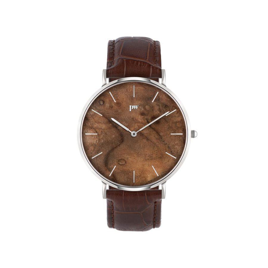 zegarek kolekcja blend Czeczota silver brązowy pasek skórzany