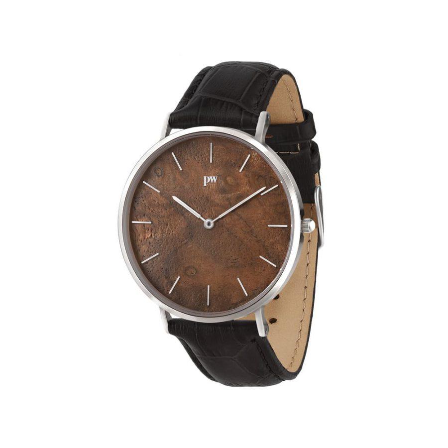 zegarek kolekcja blend Czeczota silver czarny pasek skórzany