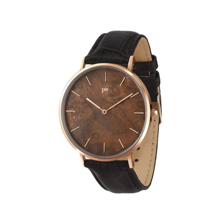 zegarek kolekcja blend Czeczota Rose gold czarny pasek skórzany