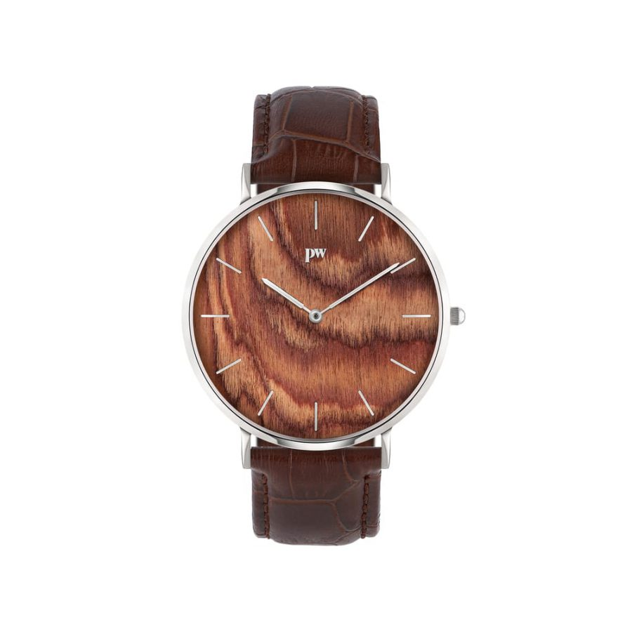 zegarek kolekcja blend Muscato Silver brązowy pasek skórzany