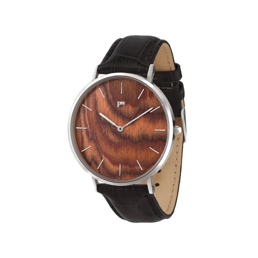 zegarek kolekcja blend Muscato Silver czarny pasek skórzany