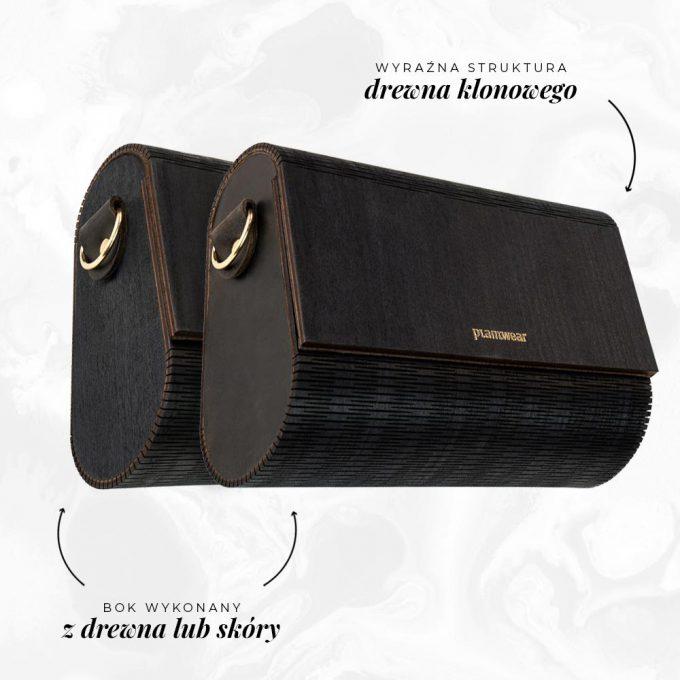 drewniana torebka flap czarny klon