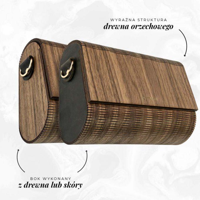 drewniana torebka flap orzech