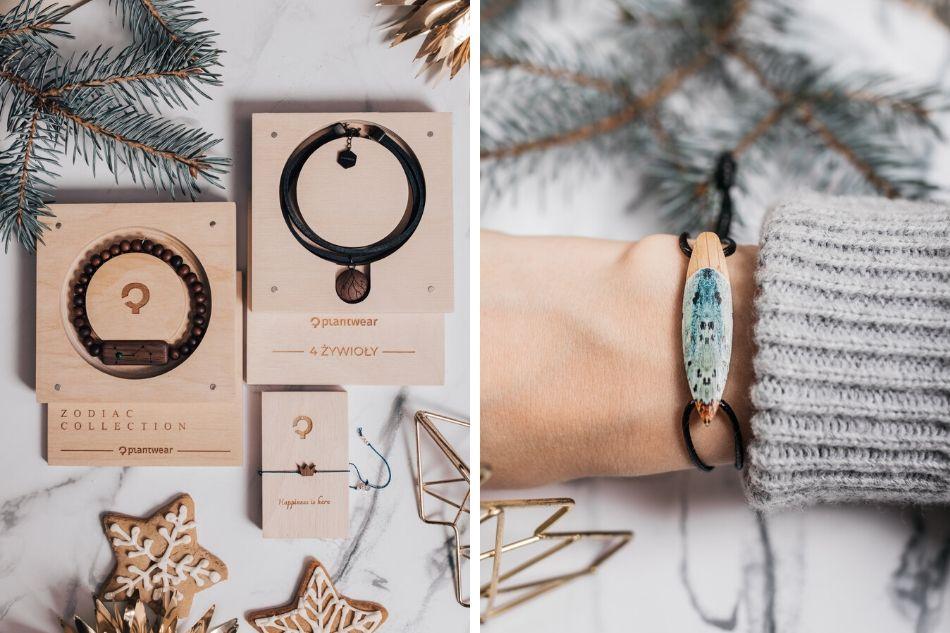 drewniane bransoletki na prezenty świąteczne