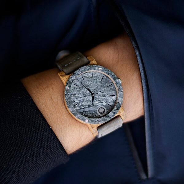 drewniany zegarek raw double silver dąb skórzany pasek3