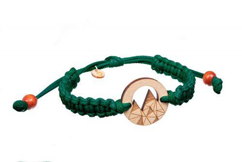 Bransoletka drewniana góry sklejka sznurek zielony