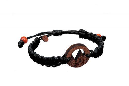 Bransoletka drewniana góry mahoń sznurek czarny