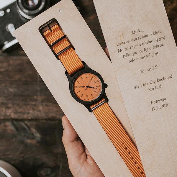 drewniany zegarek heritage orange