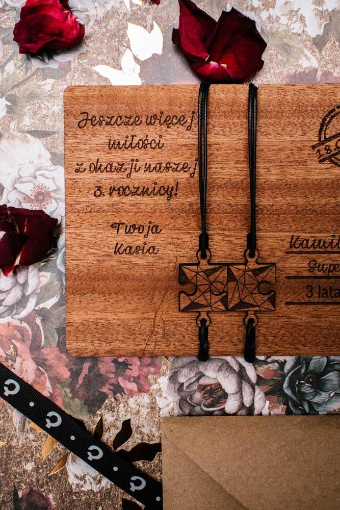 drewniana kartka na ślub, kartka na rocznicę Plantwear