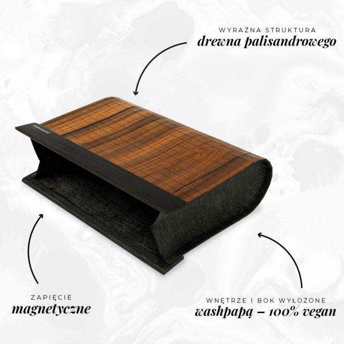drewniana torebka kopertówka palisander