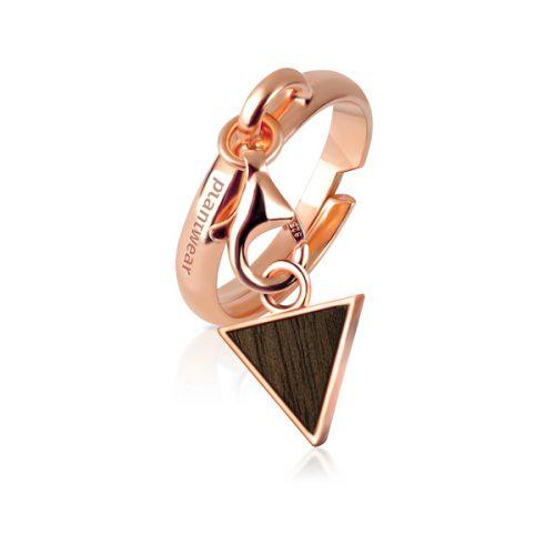 Pierścionek różowe złoto trójkąt